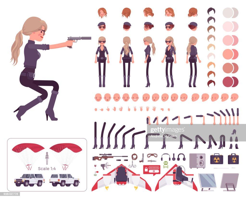 Secret agent woman, lady spy, intelligence service character creation set