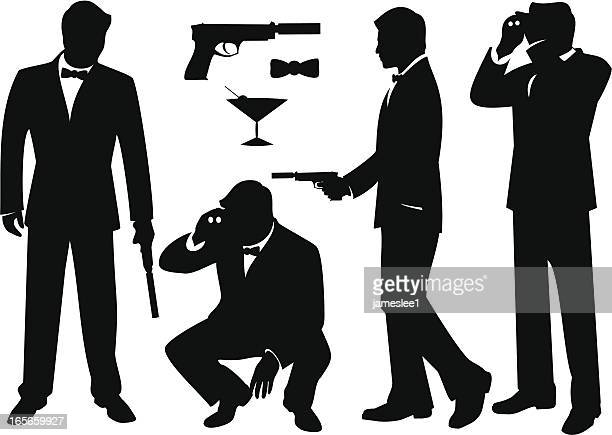 stockillustraties, clipart, cartoons en iconen met secret agents - spion