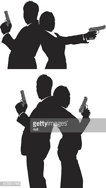 secret agents with handguns - back to back stock illustrations, clip art, cartoons, & icons