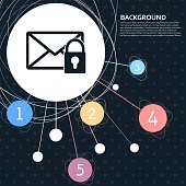 Secret mail icon with the background to the point and with infographic style. Vector