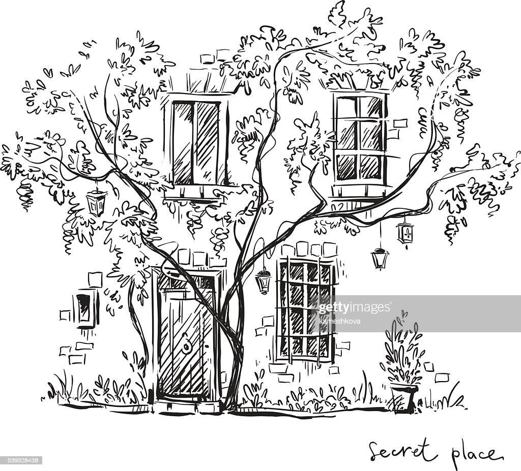 Secret place. Vector illustration.