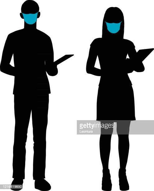illustrations, cliparts, dessins animés et icônes de secrétaires portant des masques - confinement clip art