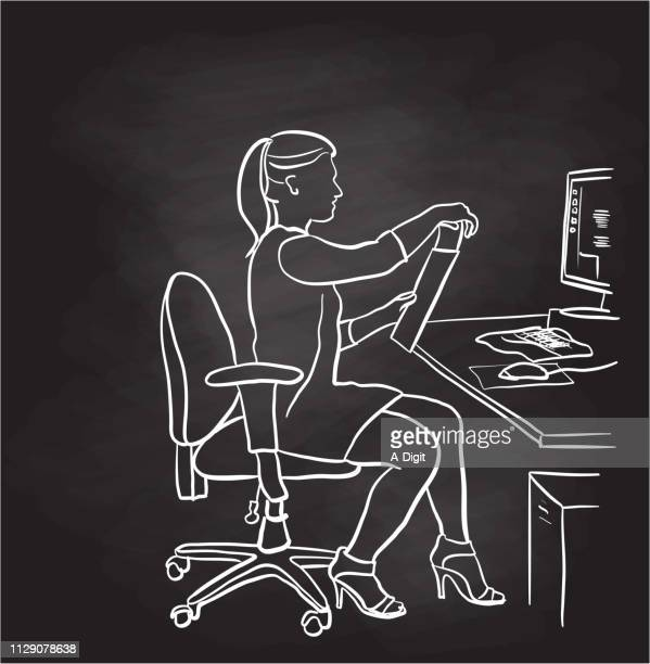 secretary posting letter chalkboard - blackboard visual aid stock illustrations
