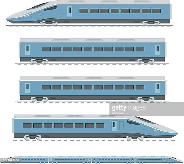 Sections of a blue high speed train