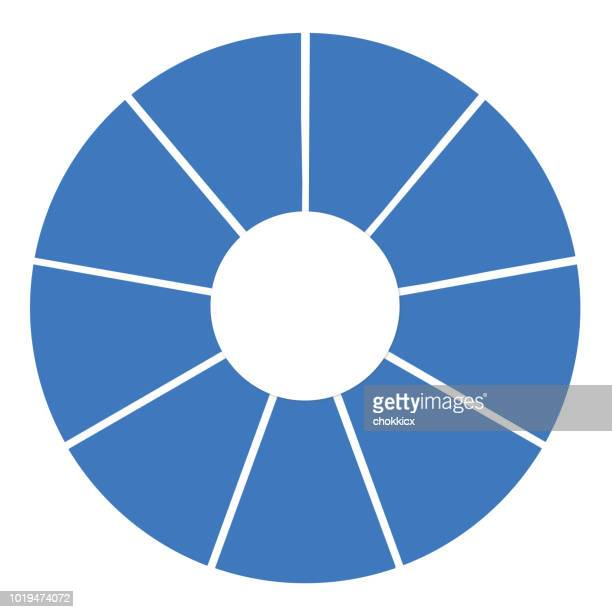 9 sections pie chart - number 9 stock illustrations