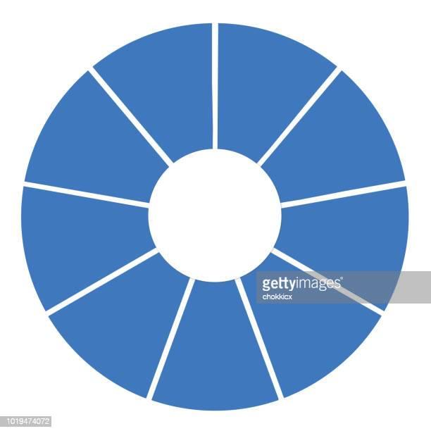 9 セクション グラフ - 16:9点のイラスト素材/クリップアート素材/マンガ素材/アイコン素材