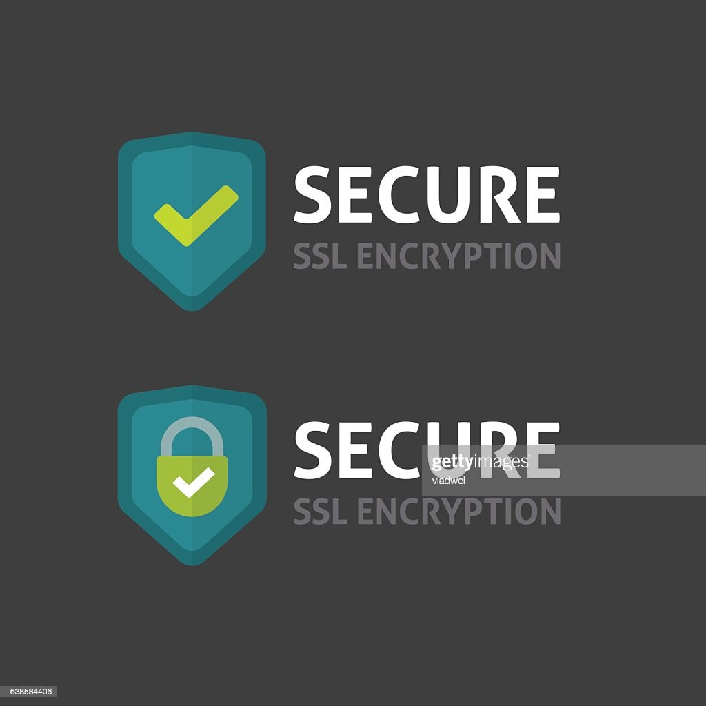 Secure connection label vector on dark background, secured ssl shield