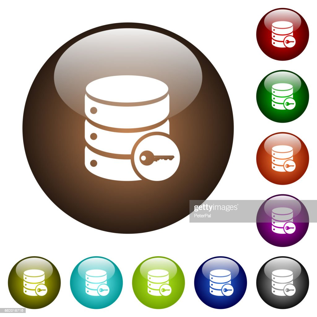 Secure database color glass buttons