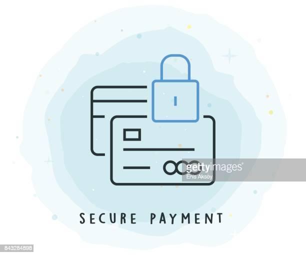ilustrações, clipart, desenhos animados e ícones de pagamento seguro ícone com patch aquarela - pagando
