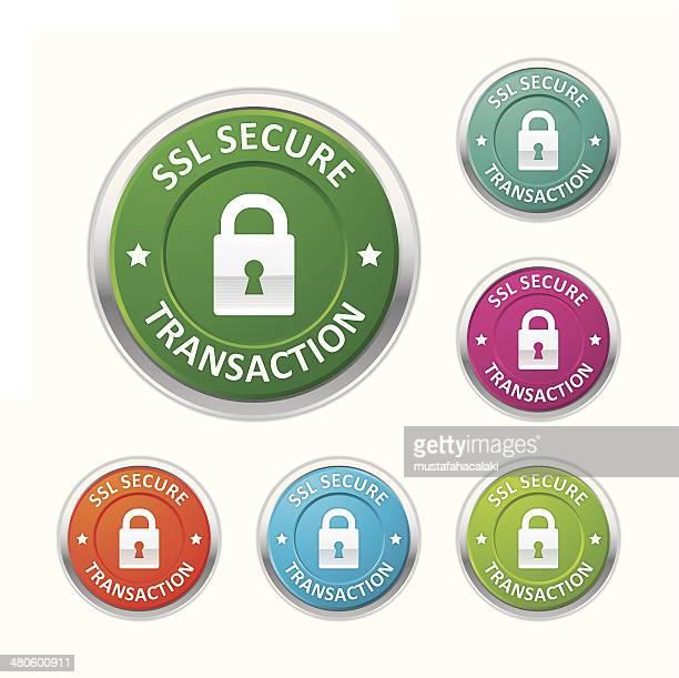 ssl sichere transaktion knöpfen - vertrauen stock-grafiken, -clipart, -cartoons und -symbole