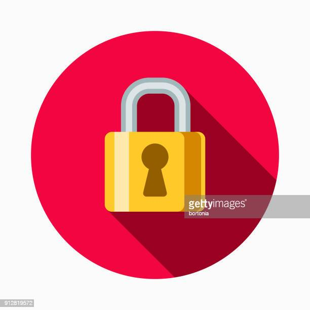 secure transactions flat design e-commerce icon - lock stock illustrations