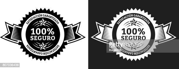 ilustrações, clipart, desenhos animados e ícones de secure vector conjunto gráfico distintivo preto e branco - símbolo ortográfico