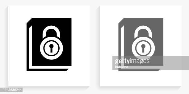 secured documents black and white square icon - {{relatedsearchurl('county fair')}} stock illustrations, clip art, cartoons, & icons