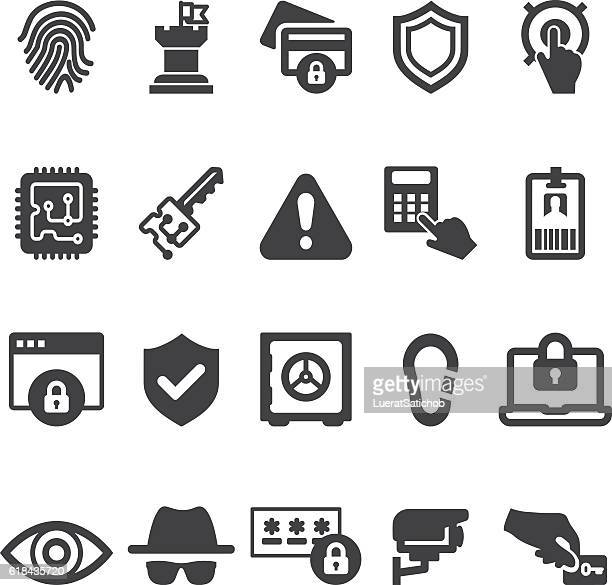 security 20 silhouette icons| eps10 - danger stock illustrations