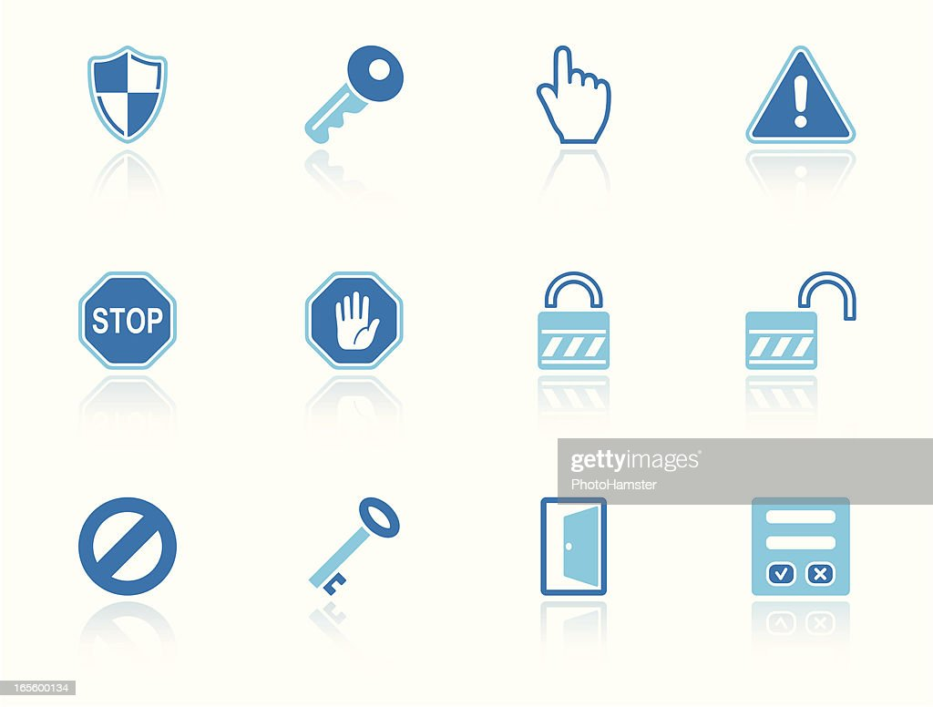 security & access icon set sky reflection