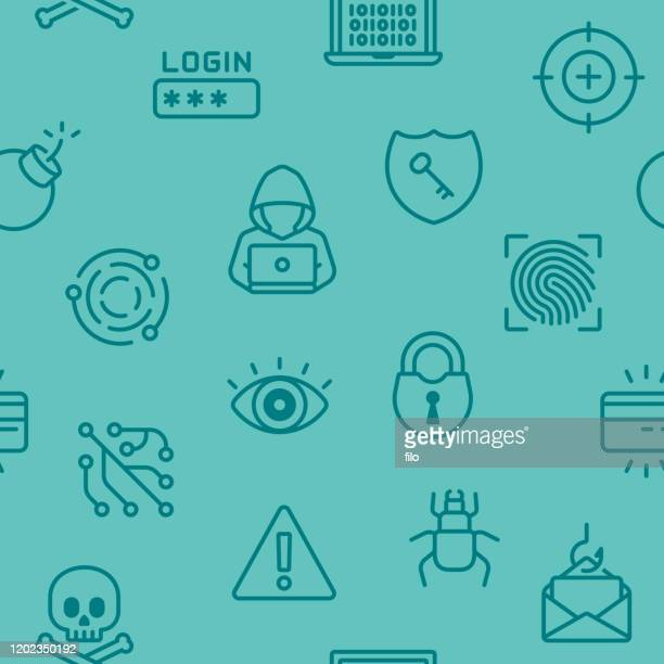 security and computer risks seamless background - fraud protection stock illustrations