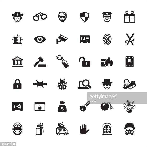 security and crime - icon set - arrest stock illustrations, clip art, cartoons, & icons