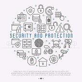 Security and protection concept with thin line icons in circle: data, surveillance camera, finger print, electronic key, password, alarm, safe for banner, web page. Vector illustration.