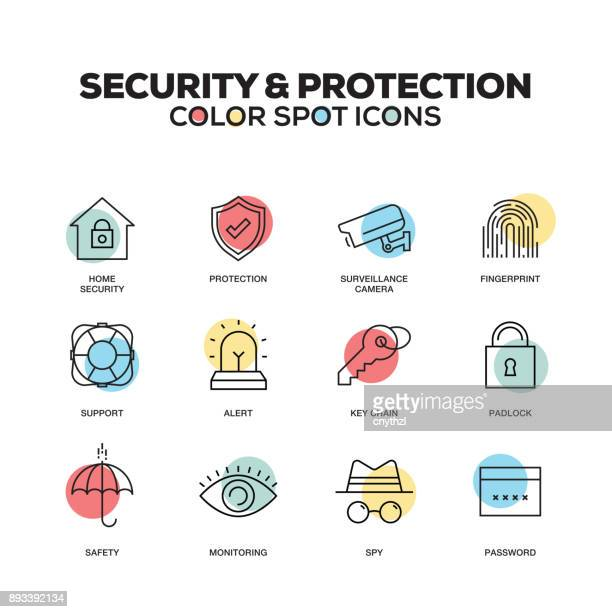 security and protection icons. vector line icons set. premium quality. modern outline symbols and pictograms. - computer virus stock illustrations