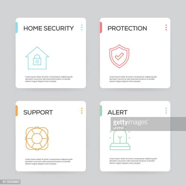 security and protection infographic design template - access control stock illustrations, clip art, cartoons, & icons