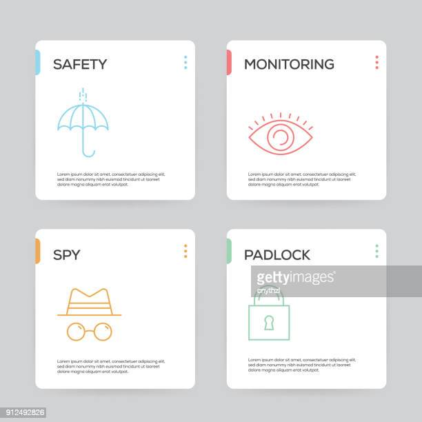 security and protection infographic design template - guarding stock illustrations