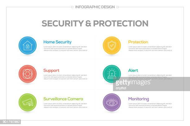 security and protection infographic with 6 options, steps or processes. - access control stock illustrations, clip art, cartoons, & icons