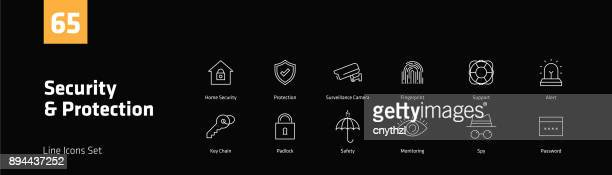 security and protection line icons set - access control stock illustrations, clip art, cartoons, & icons