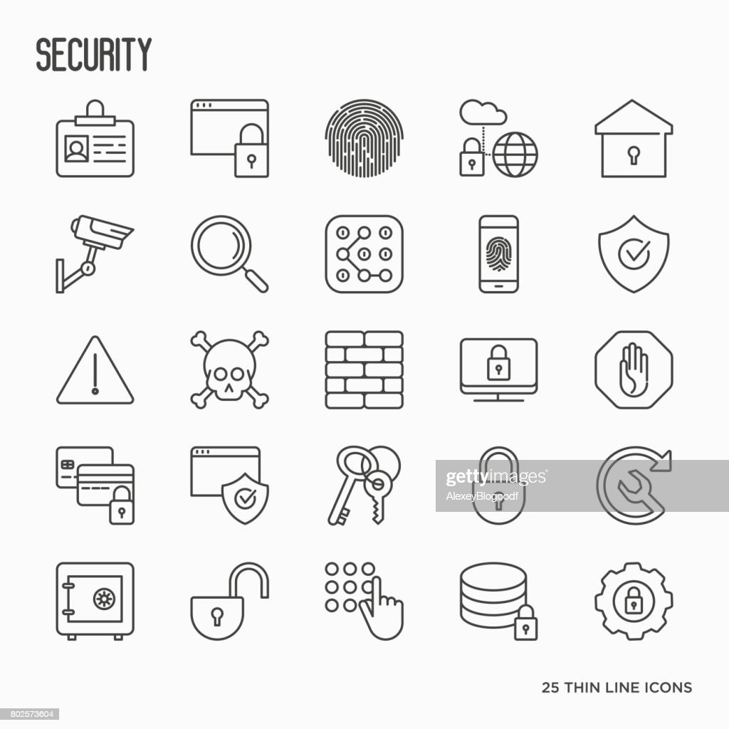 Security and protection thin line icons set: data, surveillance camera, finger print, electronic key, password, alarm, safe. Vector illustration.