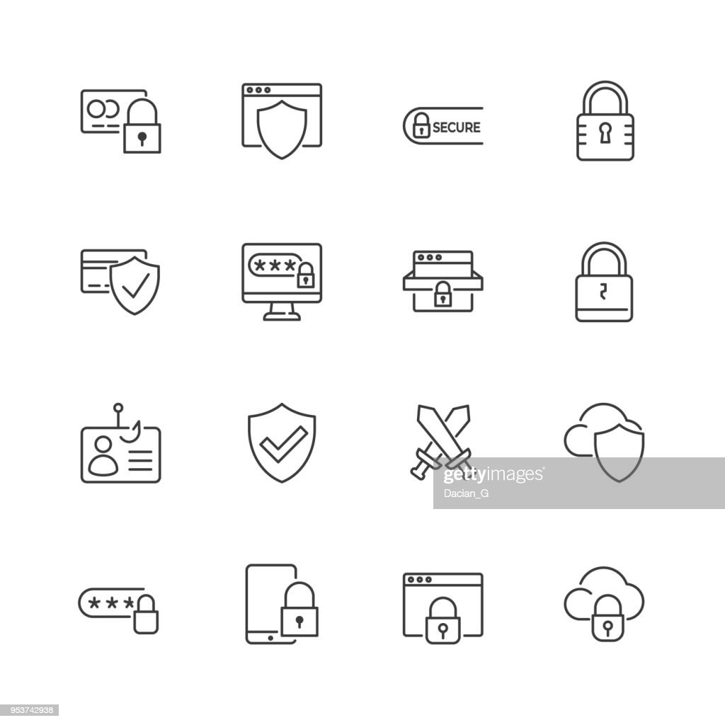 Security and protection vector line icons. Editable stroke.