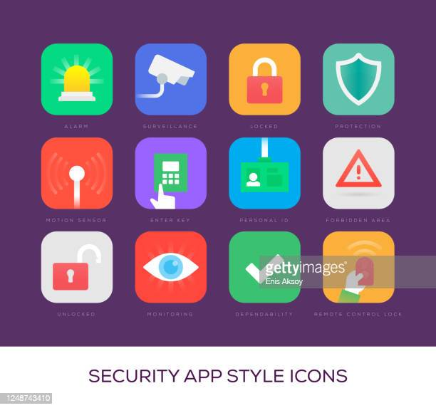 security app style icons - eye scanner stock illustrations