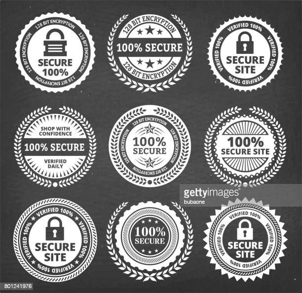 Security Badge black & white royalty free vector icon set
