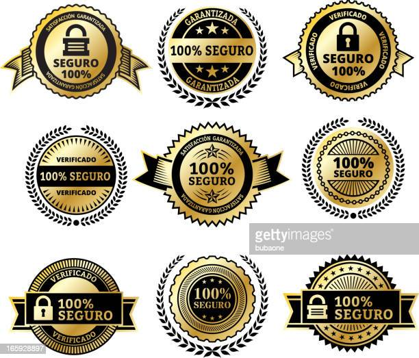 security badges in spanish - great seal stock illustrations, clip art, cartoons, & icons