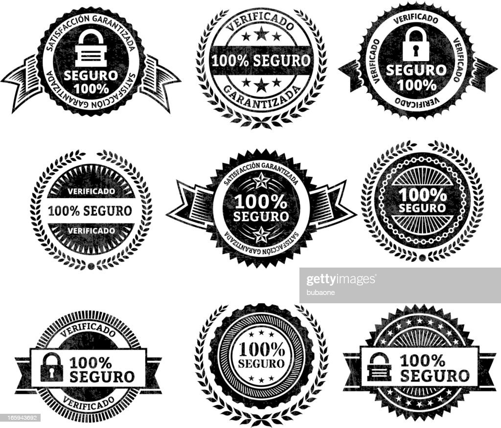 Security badges in Spanish : stock illustration