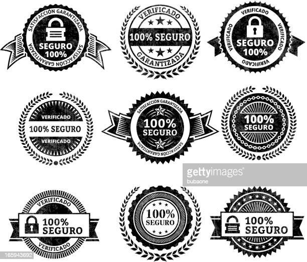 security badges in spanish - permission concept stock illustrations, clip art, cartoons, & icons