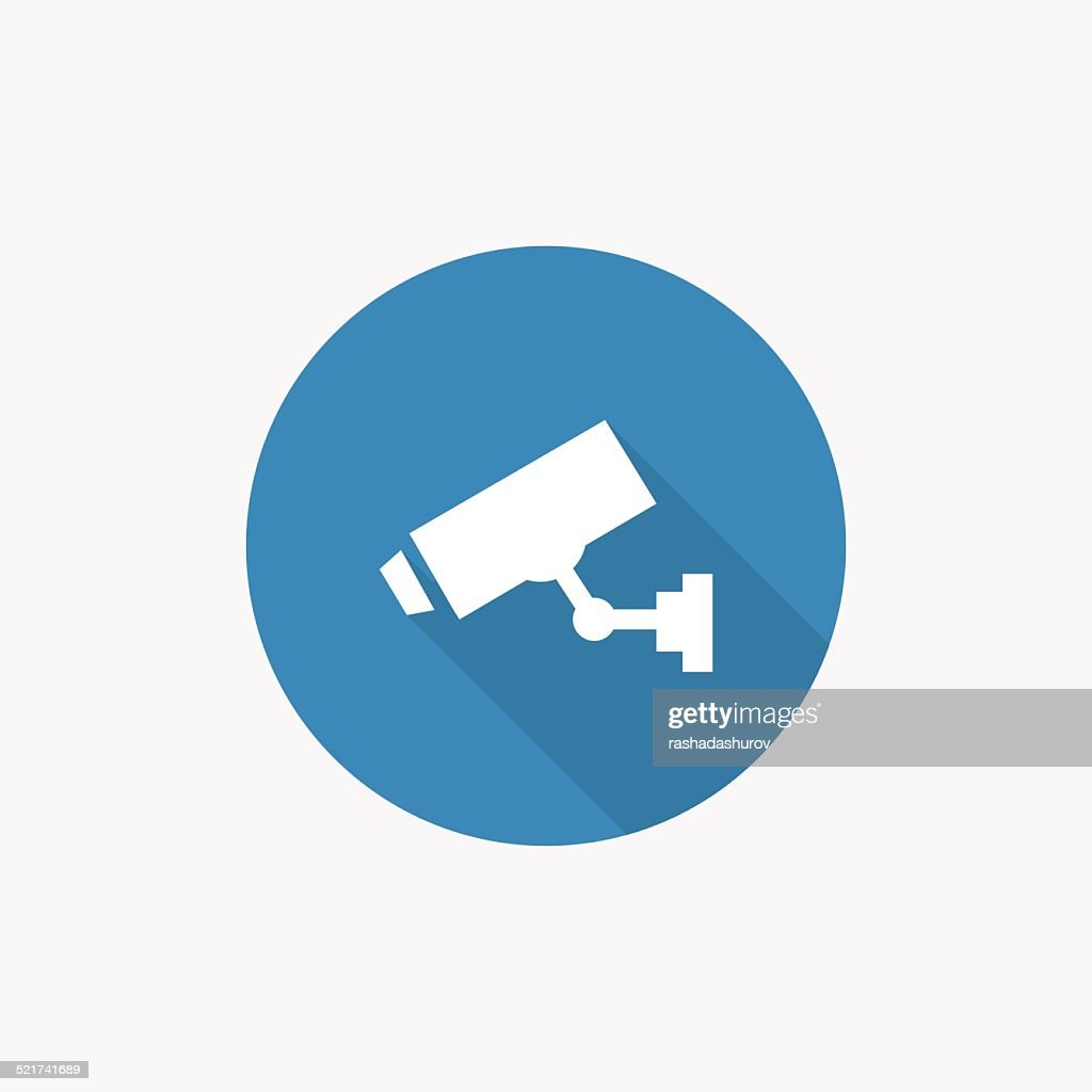 security camera Flat Blue Simple Icon with long shadow