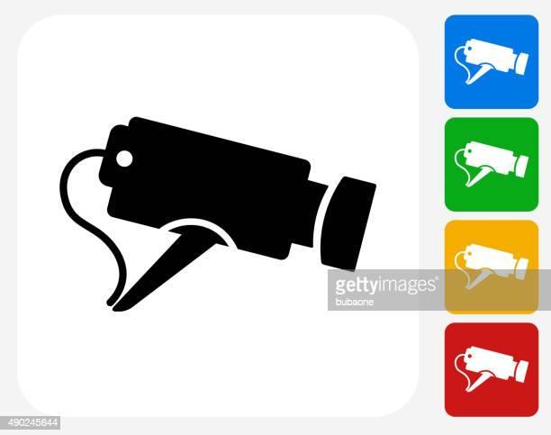 Security Camera Icon Flat Graphic Design