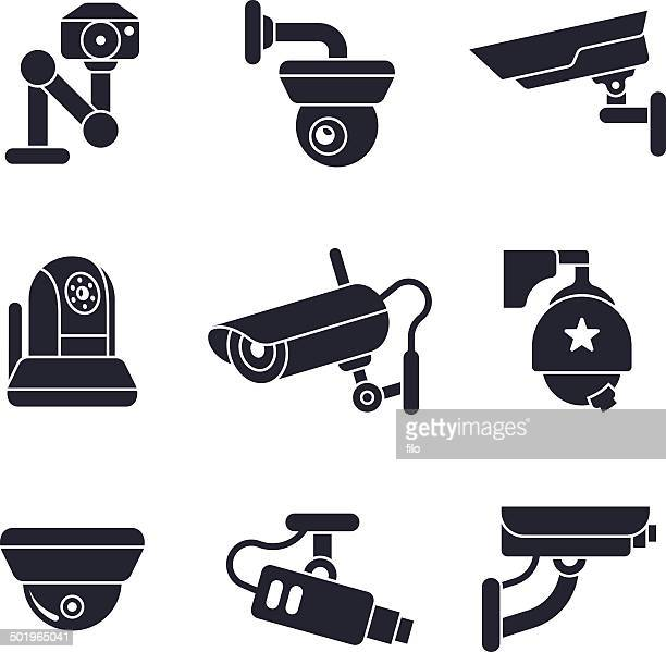 security cameras - video camera stock illustrations, clip art, cartoons, & icons