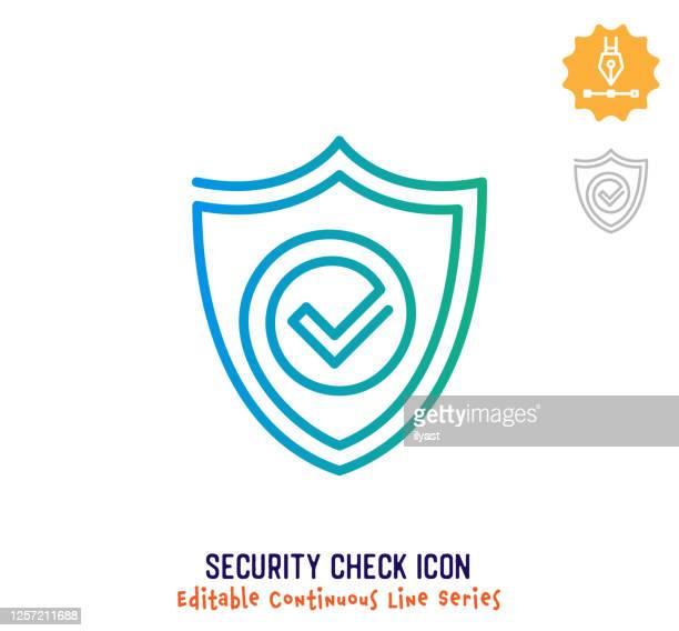 illustrazioni stock, clip art, cartoni animati e icone di tendenza di controllo di sicurezza linea continua linea modificabile linea tratto - continuità