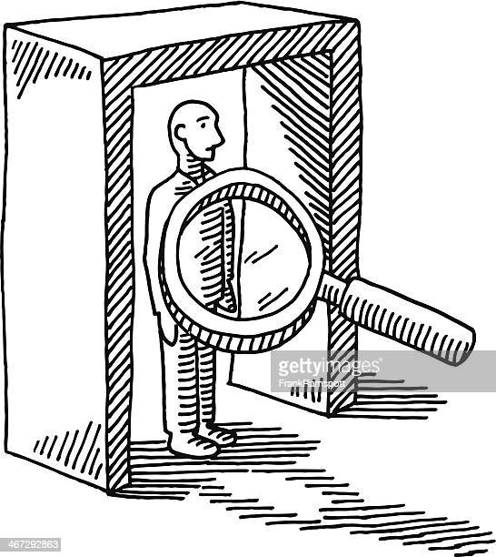 Security Check Loupe Person Drawing