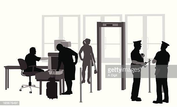security check vector silhouette - x ray equipment stock illustrations, clip art, cartoons, & icons