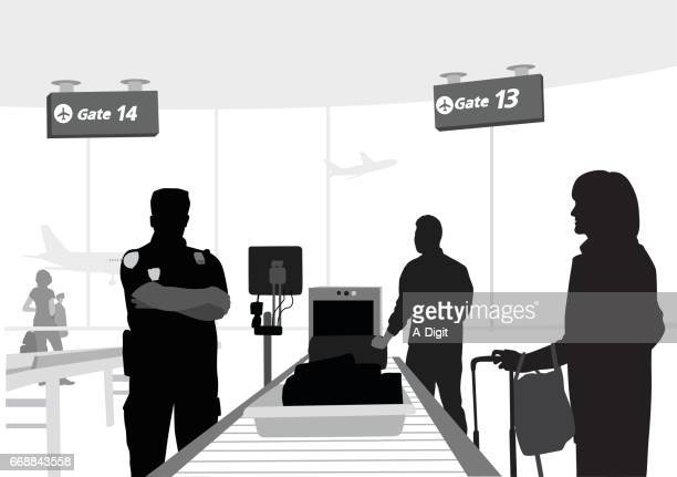 security checks - transportation security administration stock illustrations