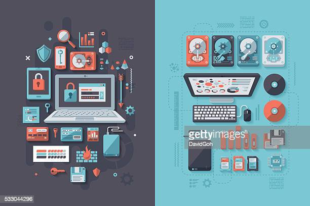 it security & data storage concept - floppy disk stock illustrations, clip art, cartoons, & icons