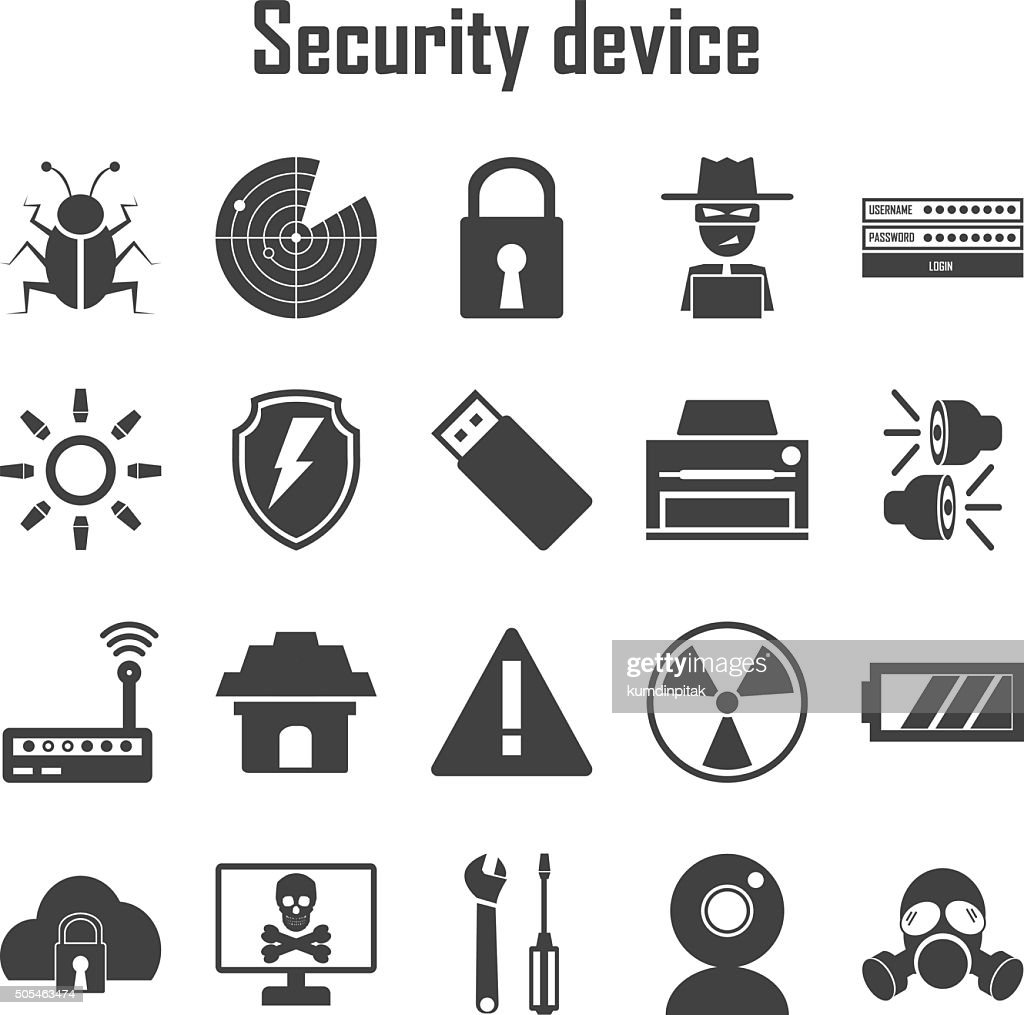 Security device icons set.