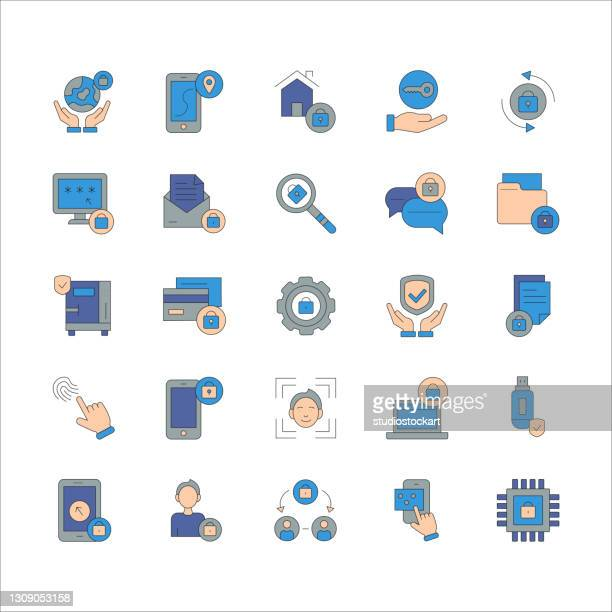 security editable stroke line icons - security scanner stock illustrations