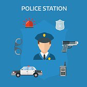 Security elements of the police equipment symbols vector icons