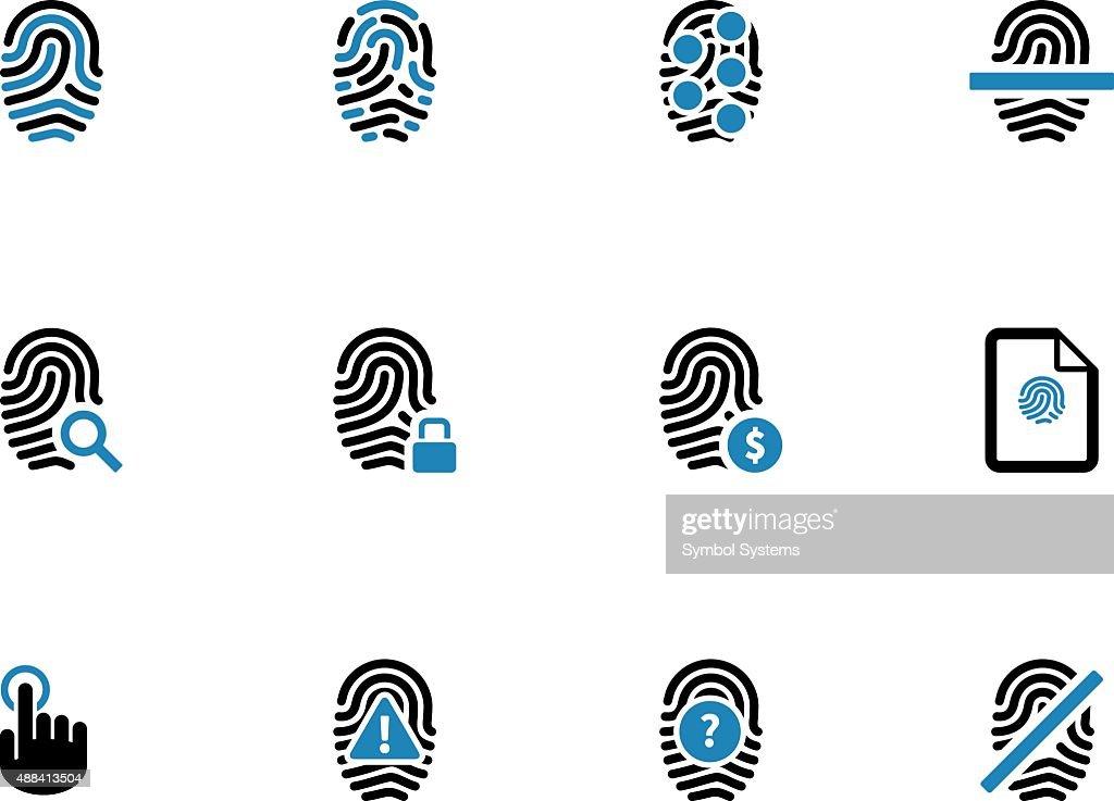 Security fingerprint duotone icons