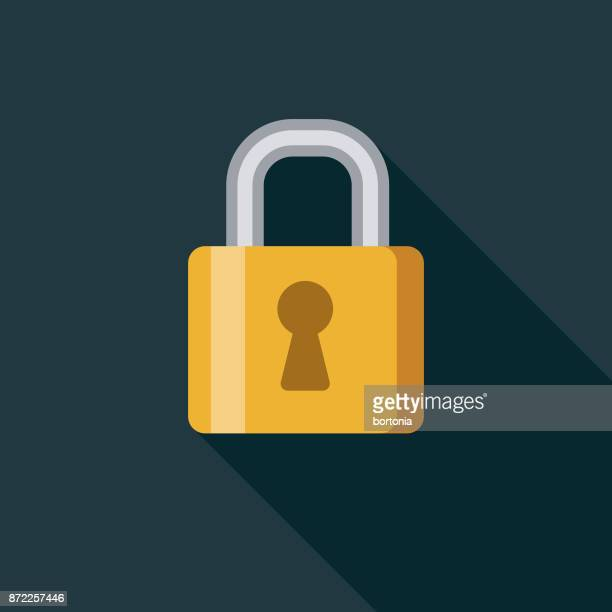 security flat design business icon with side shadow - lock stock illustrations