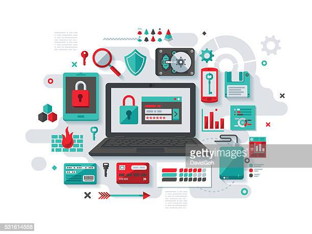 it security flat design concept - electronic media stock illustrations, clip art, cartoons, & icons