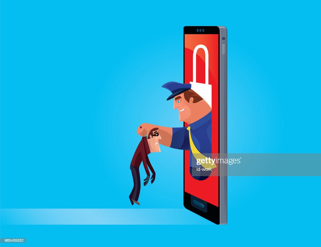 security guard arresting thief from smartphone