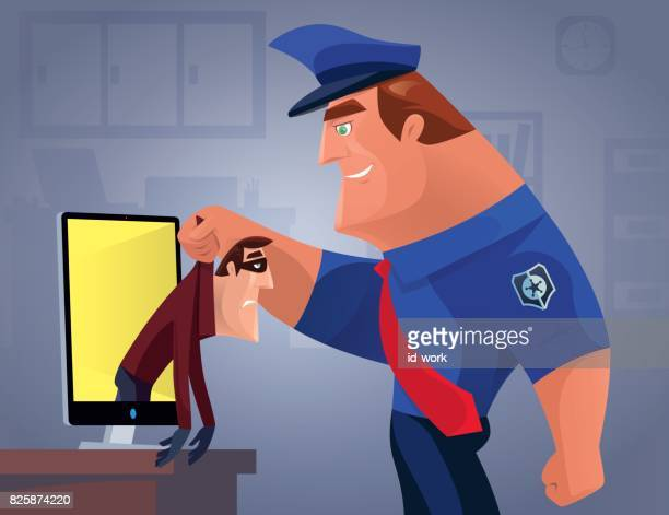 security guard catching thief from lcd - office safety stock illustrations, clip art, cartoons, & icons